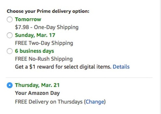 Amazon prime delivery options