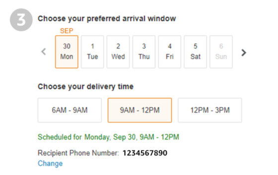delivery scheduling time and data